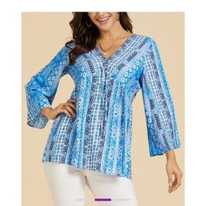 🆕 Blue Geometric Trope-Trim V-Neck Tunic